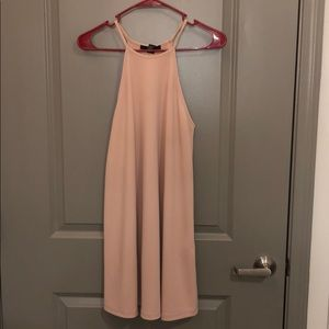 light pink, high neck dress